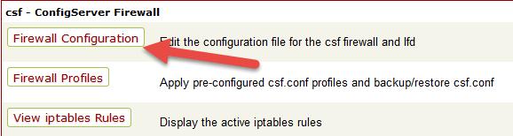 تنظیمات فایروال csf