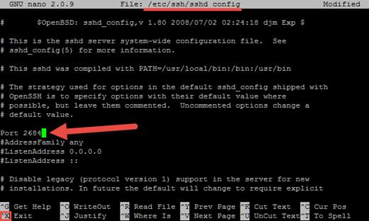 نحوه تغییر پورت ssh