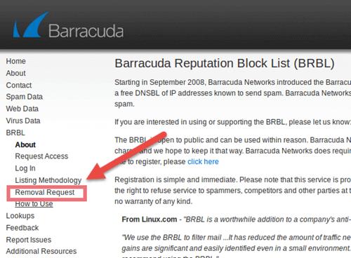 درخواست removal request در barracuda