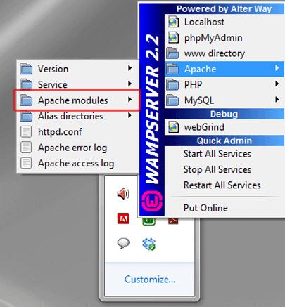 فعال کردن rewrite modules  در wamp