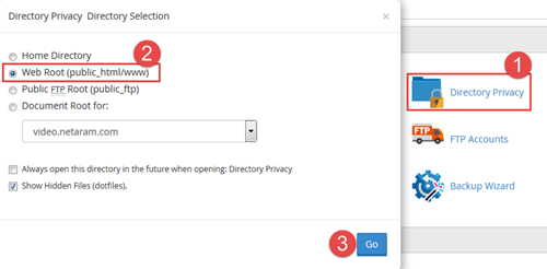 Directory privacy سی پنل