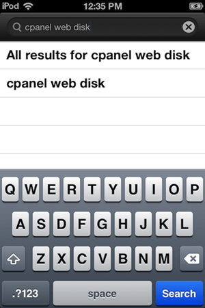 پیدا کردن برنامه cpanel web disk در app store