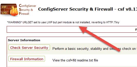 خطا URLGET set to use LWP but perl module is not installed در csf