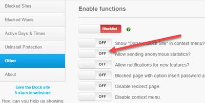 غیر فعال کردن ارسال آمار بازدید سایت ها در افزونه blocksite کروم