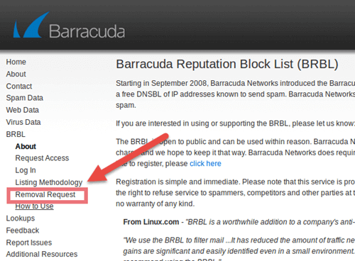 درخواست removal request در barracuda