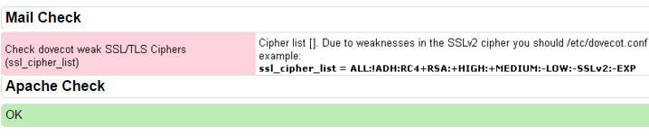 خطا Check dovecot weak SSL/TLS Ciphers