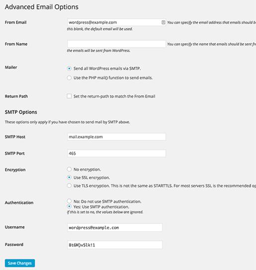 پیکربندی افزونه wp-mail-smpt