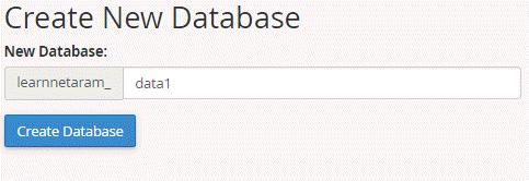 ایجاد database در cpanel