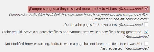 فعال سازی فشرده سازی gzip در افزونه wp super cache