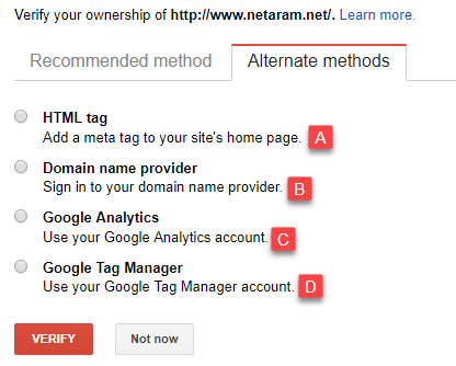 روش های متناوب تایید مالکیت سایت در Webmaster tools